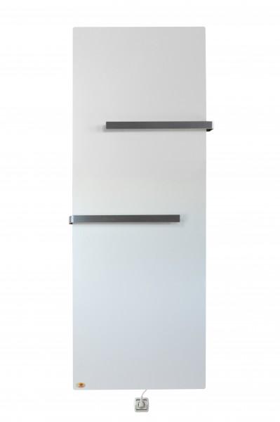 Infrarood Keramiek badkamer verwarming met handdoekbeugel-Crème Wit, 2000x640x10 mm, 1060 Watt
