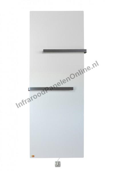 Infrarood Keramiek badkamer verwarming met handdkoekbeugel-Crème Wit, 2000x640x10 mm, 630 Watt
